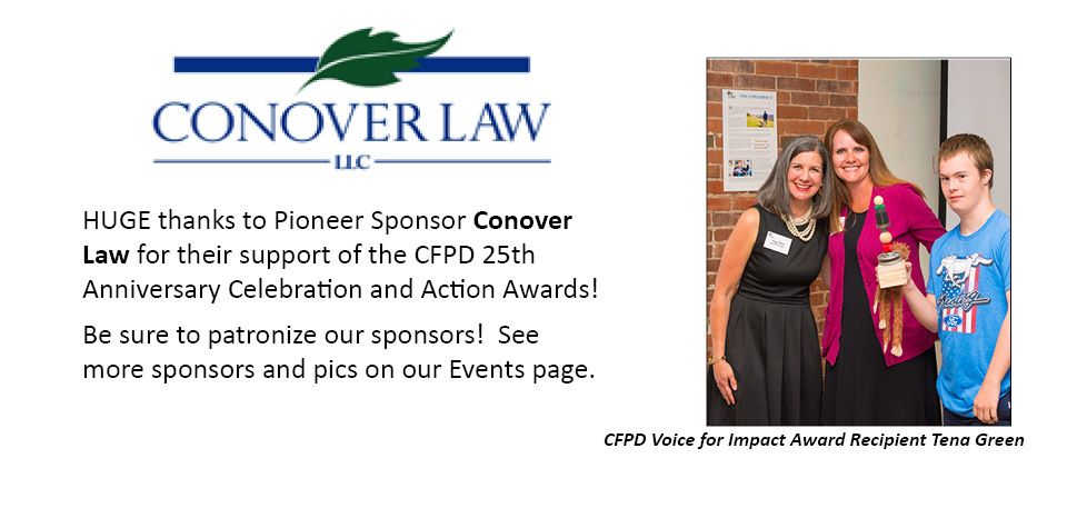 CFPD Sponsor Conover Law with Awardee Tena Green