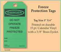 Freeze Protection Tag