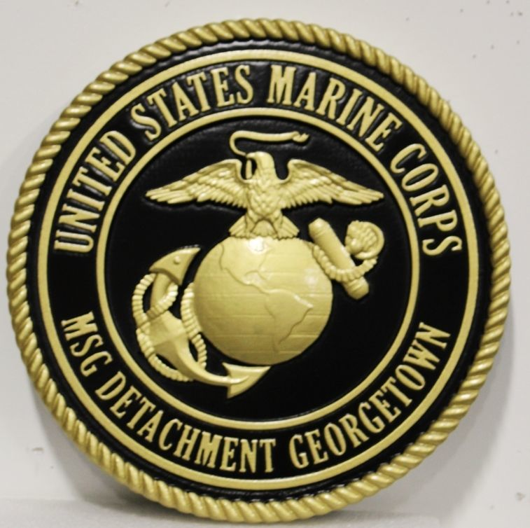 KP-1129 - Carved 3-D HDU Plaque of the Emblem of the US Marine Corps , MSG Detachment Georgetown