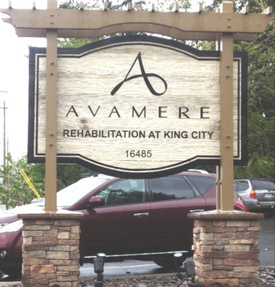 "S28013 - Stone Base Monument Sign for ""Avamere Rehabilitation Center"" with Wood Pergola"