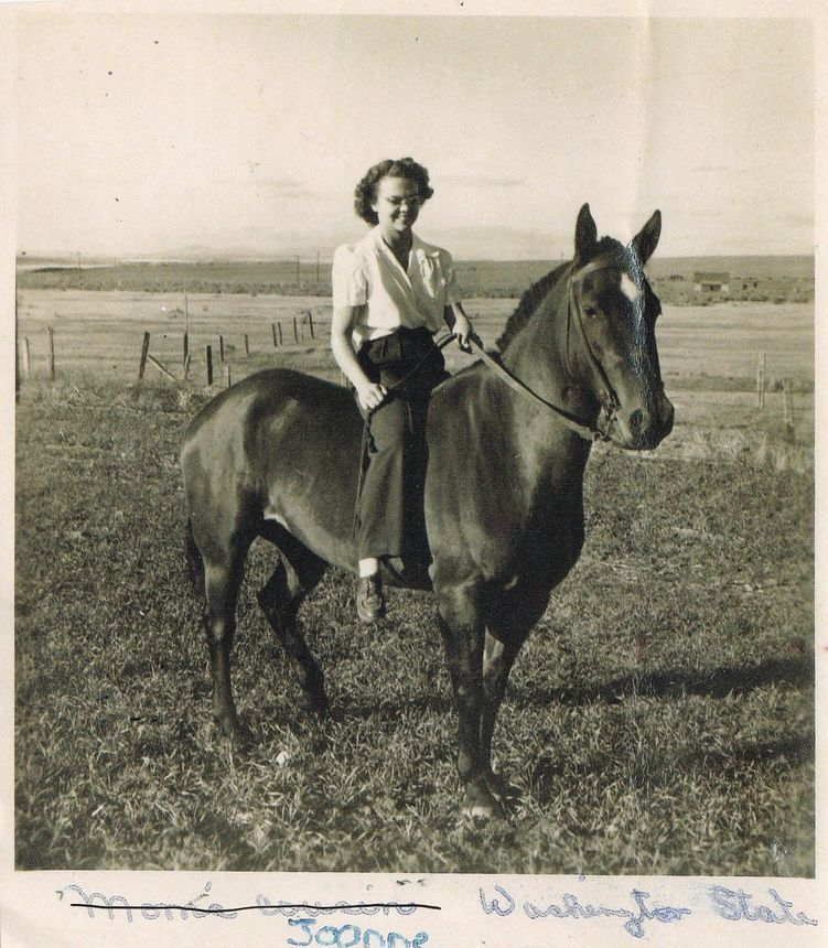 Joanne Terry on Brownie the Horse