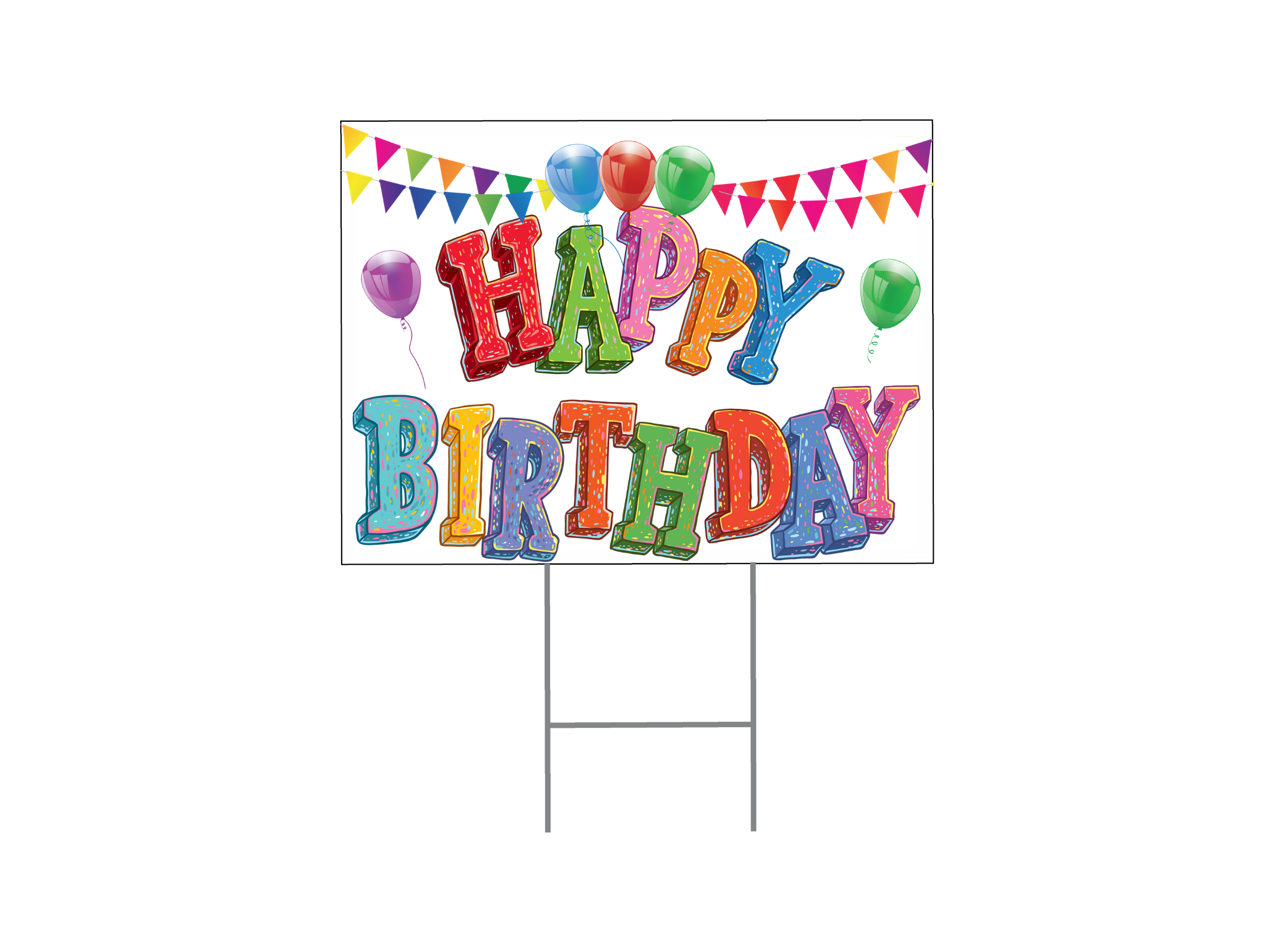 Happy Birthday Yard Sign - Colorful Letters