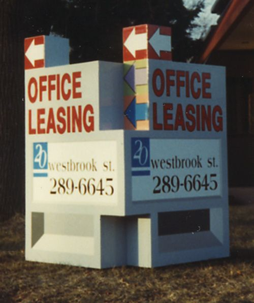 "Real Estate, ""Office Leasing"" Vee Sign with Faux Detailing"