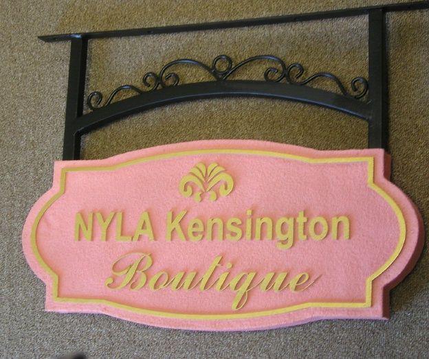 SA28366 - Sandstone-Texture  Sign for Kensington  Boutique with Fleur-de-Lis and Scroll Bracket