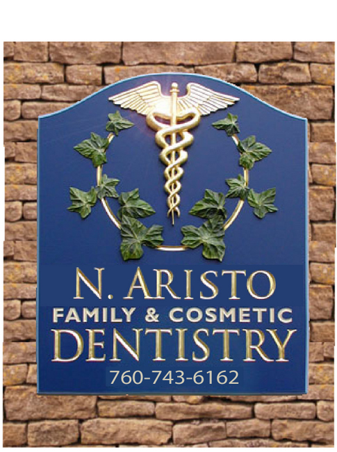 BA11602 - Carved 3D Gold-Leaf Gilded Family and Cosmetic Dentistry Office Wall Sign