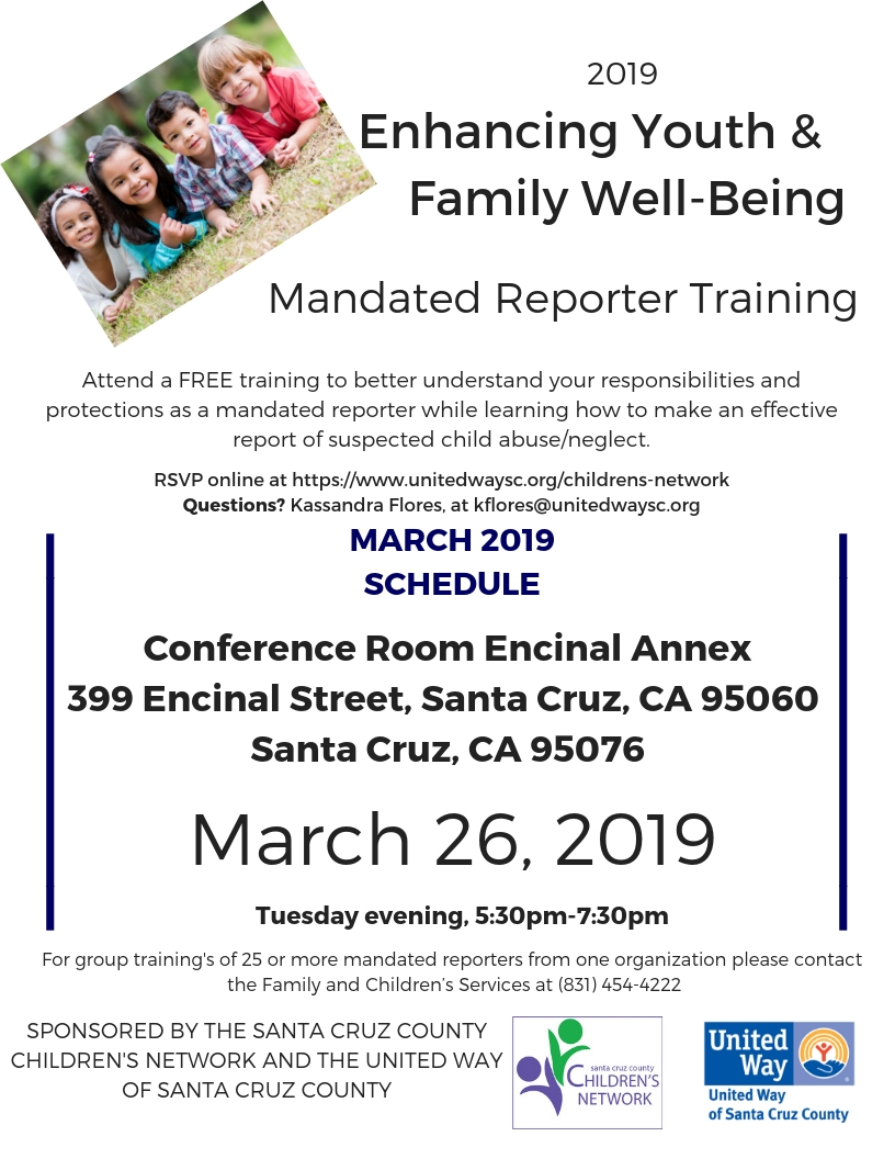 Mandated Reporter Training - March 26th