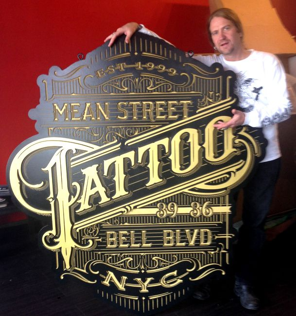 S28078B - Photo of Tattoo Parlor Sign Installed Inside the Front Window of the Shop