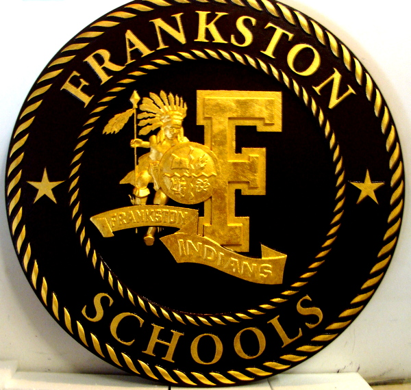 M7337 - Gold-Leaf-Gilded Carved 3D Wall Plaque for Frankston Schools