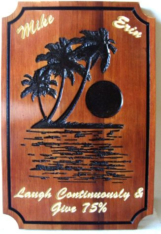 """N23072 - Custom Cedar Wood Engraved Wall Plaque """"Laugh Continuously"""" with Tropical Island"""