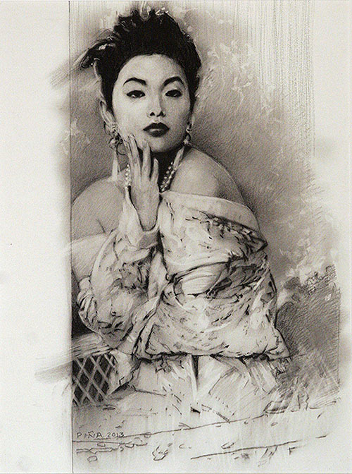 Geisha Girl, graphite and charcoal,