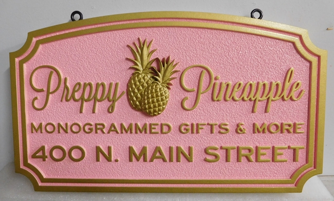 "SA28386 - Elegant Sign for the ""Preppy Pineapple"" Gift Store Carved in 2.5-D Relief"