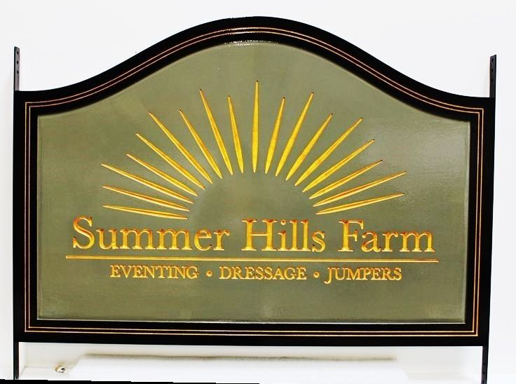 """P25174 - Engraved HDU Entrance Sign for """"Sunset Hills Farm"""", with Stylized Setting Sun as Artwork"""