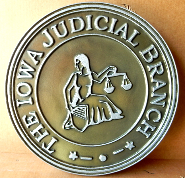 A10856 - Wall Plaque for State of Iowa Judicial Branch,,Silver-Nickel Coated with Tan-Gold Background Patina