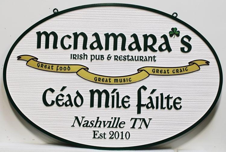 RB27567 - Carved 2.5-D and Sandblasted Wood Grain Sign for  McNamara'sIrish Pub and Restaurant