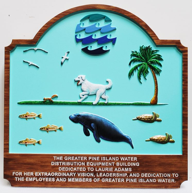 L21400 - Carved 3D Bas-Relief Commercial Sign for a Water Company, with a  Dog, Sea Turtles, a Manatee and Seagulls as Artwork