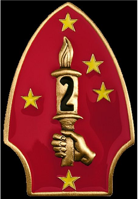 KP-2060 -  Carved Plaque of  the Insignia of the Second Marine Division, Artist Painted and Gold Gilded