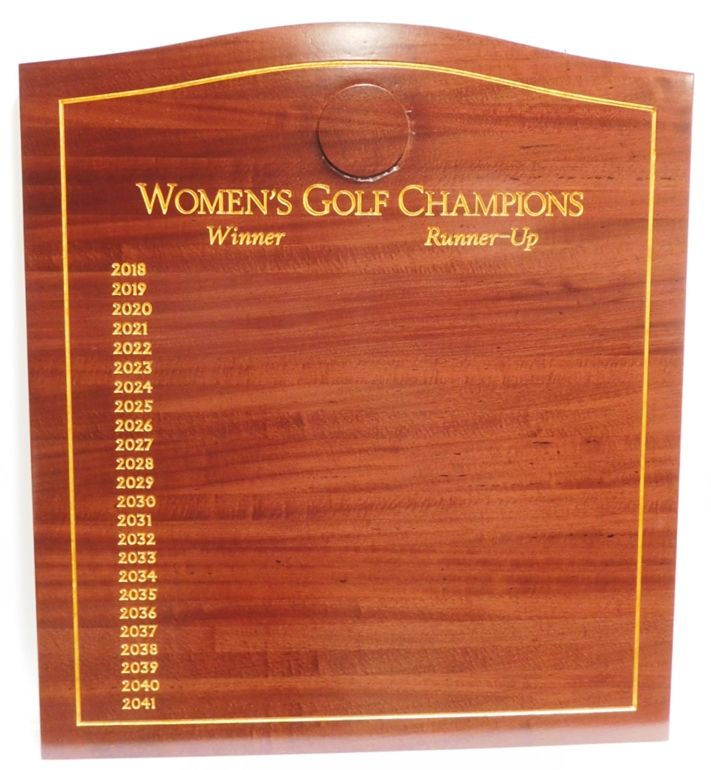 E14719 - Engraved Mahogany  Women's Golf Club Champion Perpetual Wall Plaque (braas Nameplates not yet Installed).