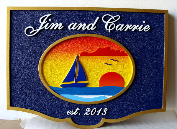 L21258 - Carved HDU Seaside  Residence Name  Sign, with Sailboat and Sunset