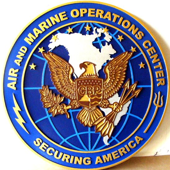 IP-1920 - Carved Plaque of the Seal of Air and Marine Operations Center, Artist Painted