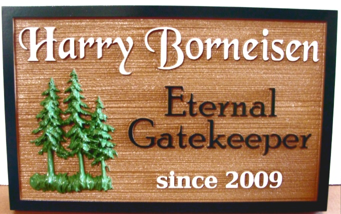 M2080 - Carved Spruce Tree Memorial Sign