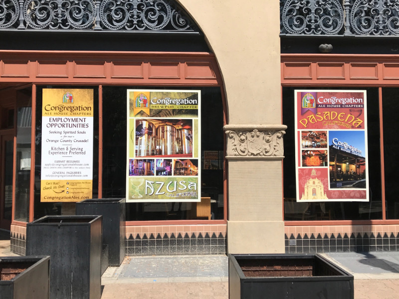Window signs and graphics for restaurants in Orange County CA