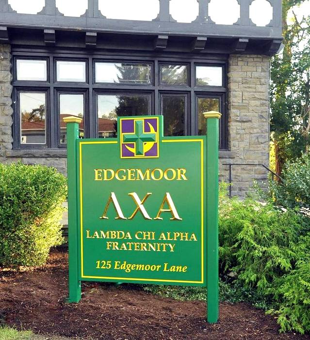Y34509 - 3D Entrance Sign, Lambda Chi Alpha Fraternity, with 24K Gold-Leafed Letters