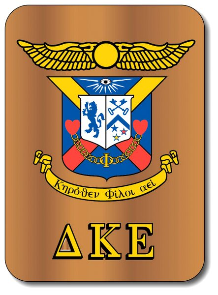 Y34530 - Carved 2.5D HDU on Cedar Wall Plaque for Delta Kappa Epsilon Fraternity Coat-of-Arms
