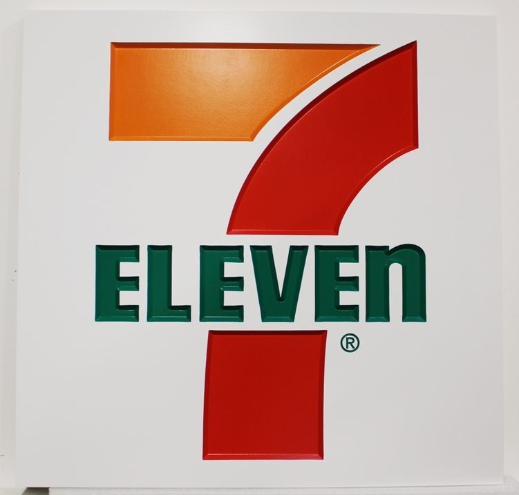 "Q25839 - Carved HDU Sign for a ""7-11"" Store"