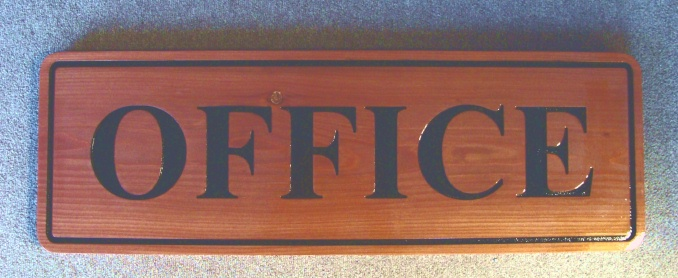 "KA2051 - Carved Cedar Wood Office Sign with Engraved Word ""Office"""