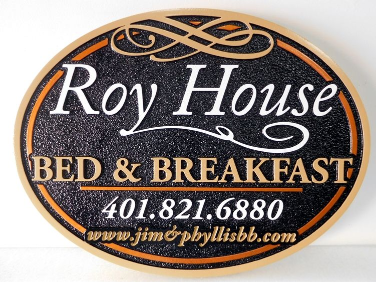 "T29030 - Elegant ""Roy House "" B & B  Hanging Entrance Sign"