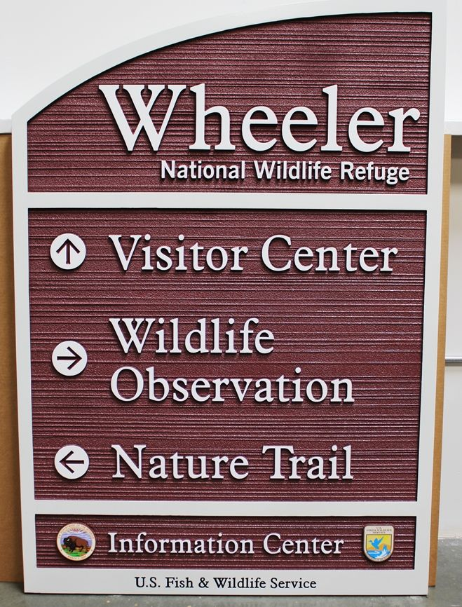 G16040 -  Carved and Sandlasted Wood Grain HDU Wayfinding Sign for Wheeler National Wildlife Refuge , 2.5-D