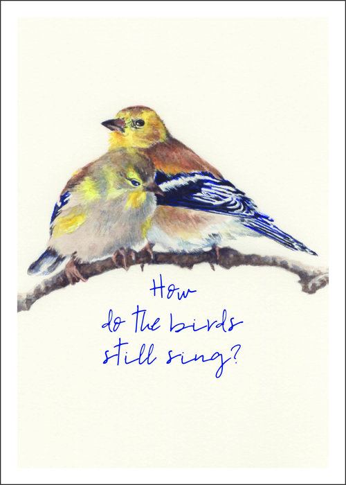 Winter Goldfinches Notecard