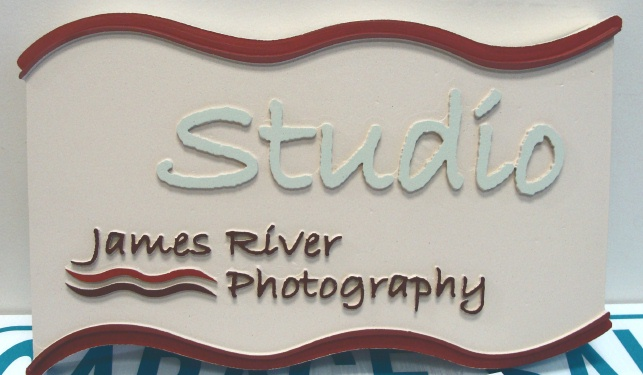 "SA28420 - Carved 2.5-D Double-Faced Sign for ""James River:""  Photography Studio"