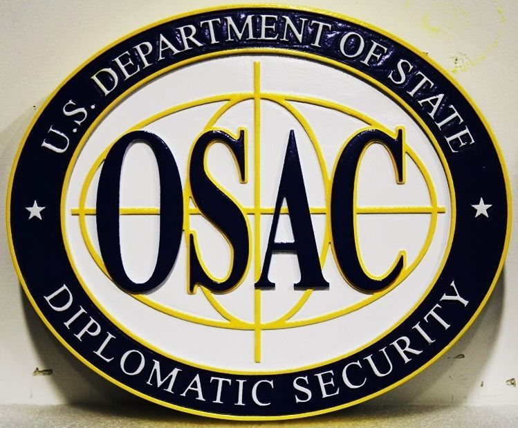 U30335 - Carved HDU Wall  Plaque for the Diplomatic Security division (OSAC) of the Department of State