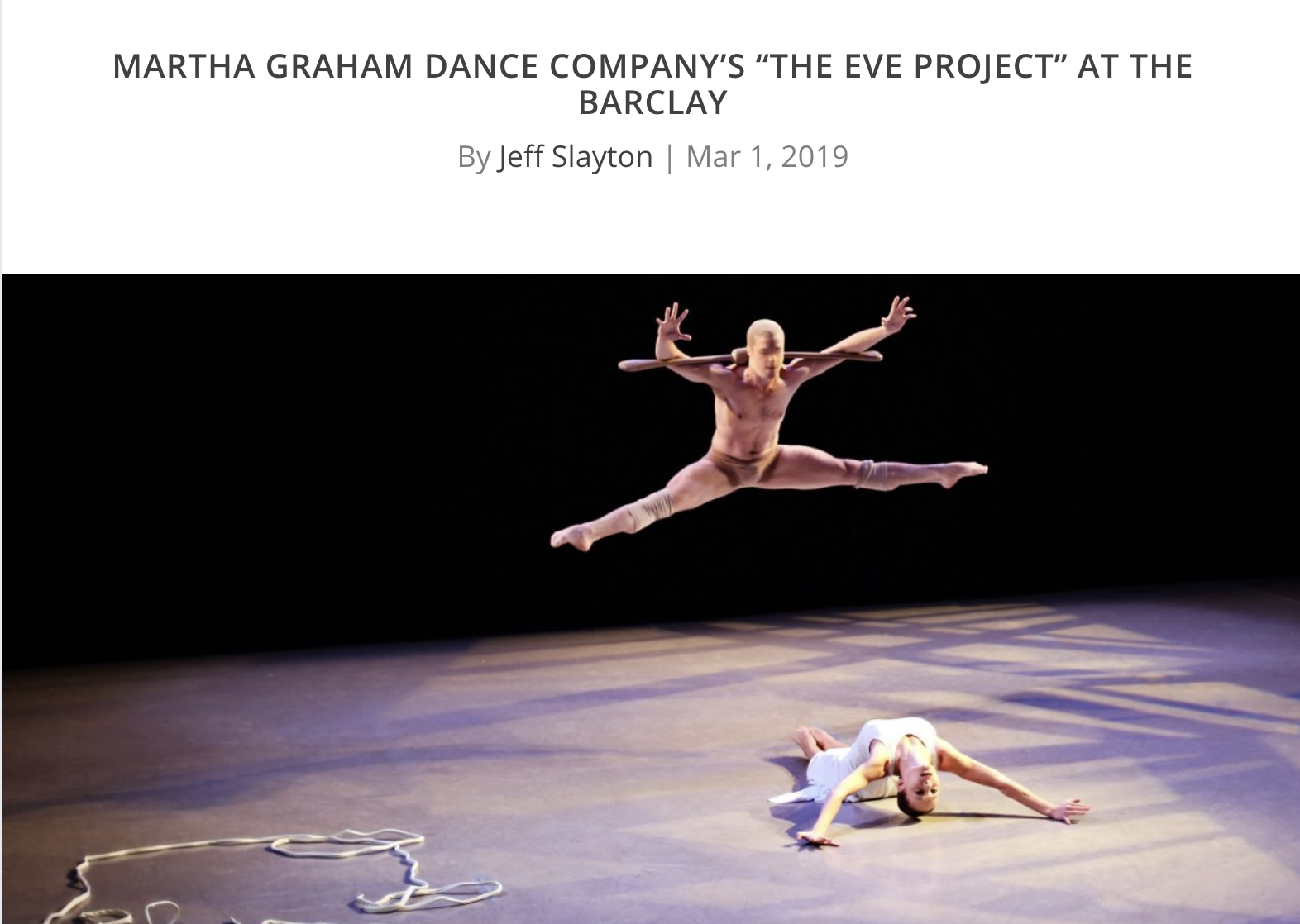 "Martha Graham Dance Company's ""The Eve Project"" at The Barclay"