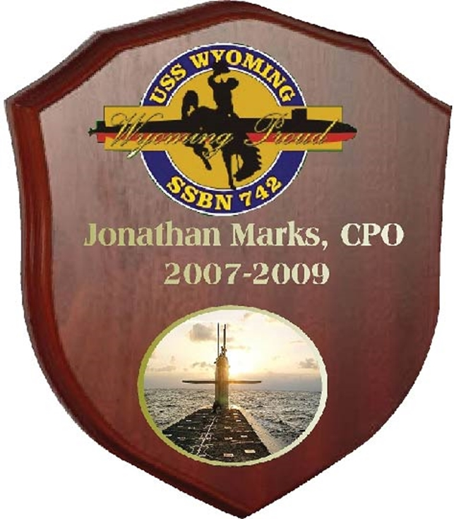 JP-2140 - Carved Shield Plaque for USS Wyoming SSBN , Giclee Prints on Mahogany Wood