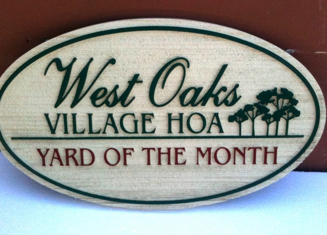 KA20903 - West Village Yard of Month Sign with Trees