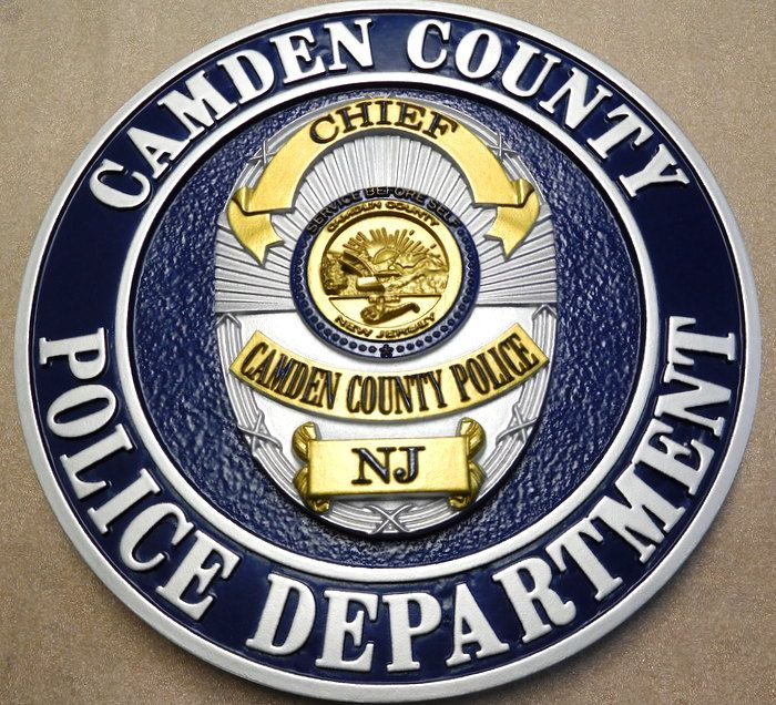 M7455 - Metallic Silver and Gold Painted Carved 3D Wall Plaque of a Policeman's Badge , Camden, New Jersey