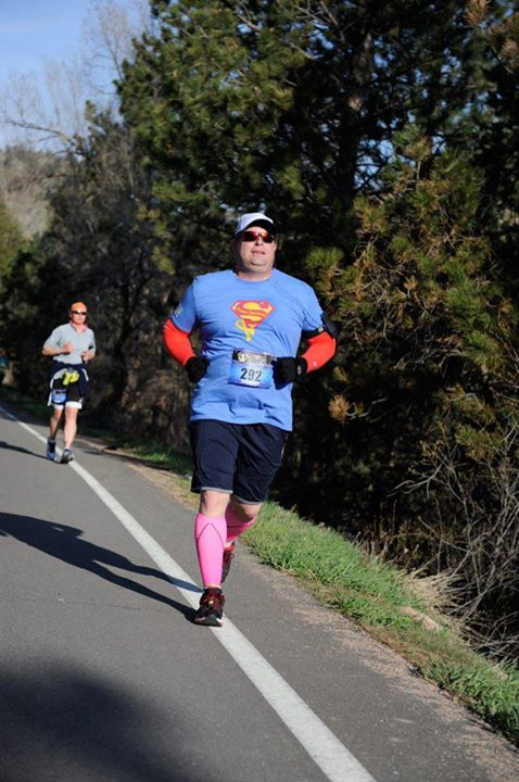 Our buddy Chris, running in the CO marathon!!