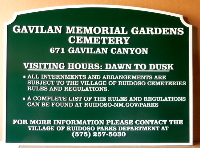 GC16240 - Carved High-Density-Urethane (HDU) Entranceand Rules sign was made for the Gavilan Memorial Gardens Cemetery.