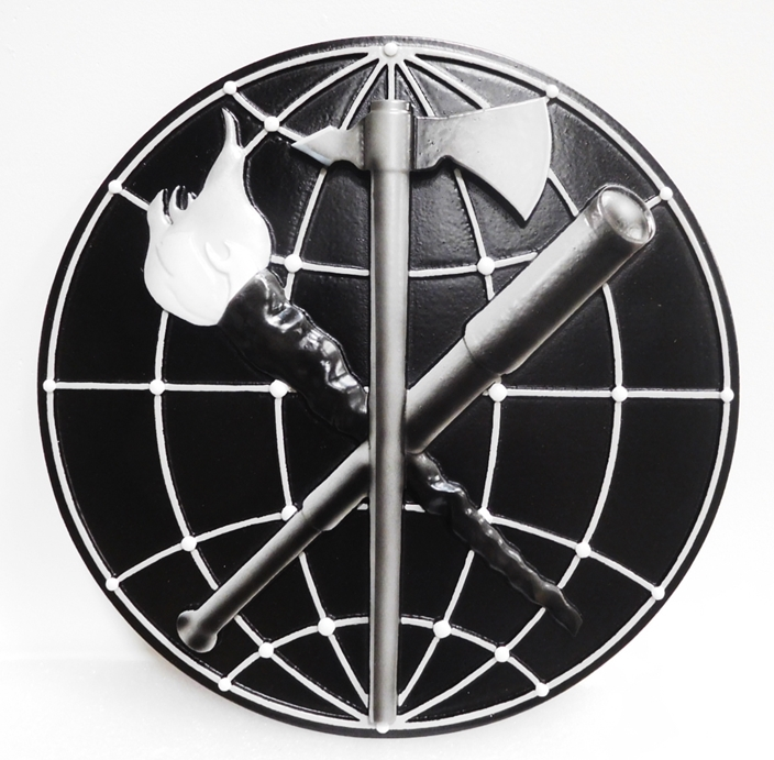 MP-2410 - Carved Plaque of an Insignia / Crest for a US Army Unit, 3D Painted in Black and Metallic Silver