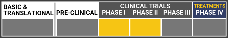 Research Continuum Graphic. Research in Clinical Trial Phase I-II. Sections shown in grey: Basic & Translational, Pre-clinical, Clinical trials Phase III, and Treatments-Phase IV. Highlighted in yellow: Clinical Trials Phase I and II.