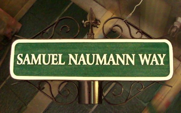 H17057 - Carved HDU Street Name Sign, Samuel Naumann Way, mounted on Post with Ornate Scroll Bracket