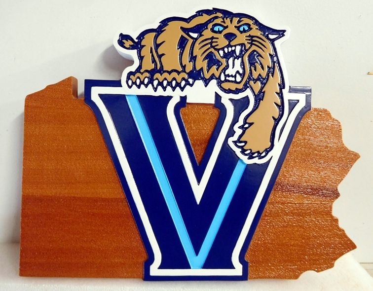 WP-1220 - Carved Wall Plaque of Logo for High School Football Team,  Cedar Wood