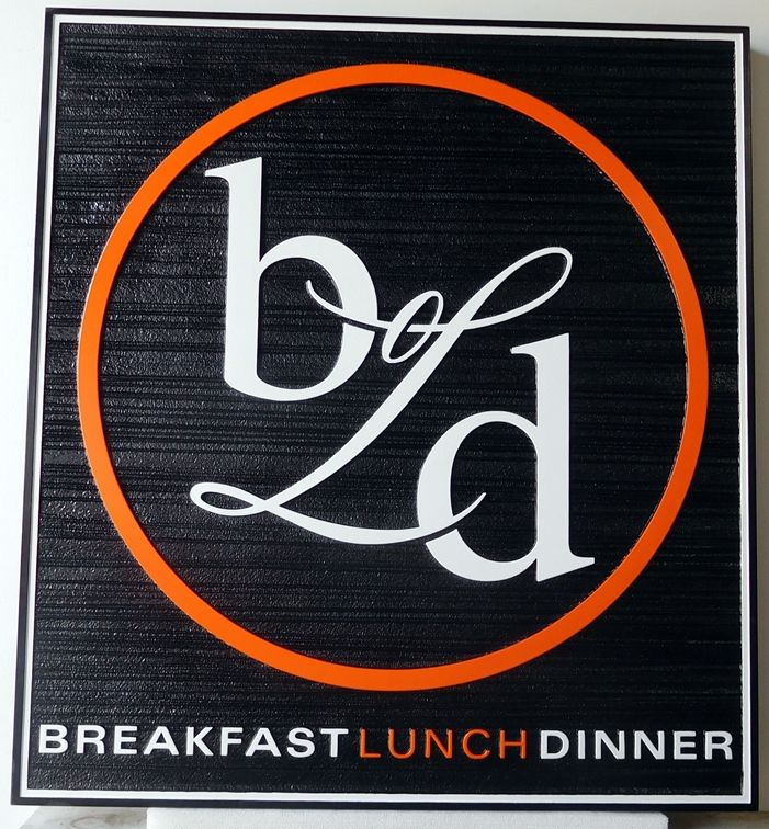 Q25053 - Carved Sign for Restaurant Serving Breakfast, Lunch and Dinner. (See Q25053 below.)
