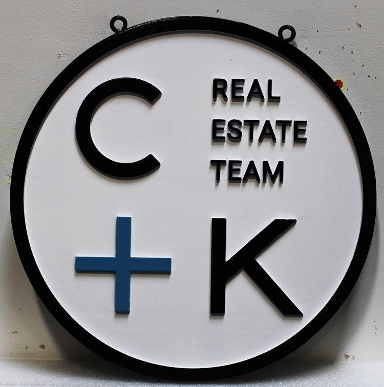 """C12334 - Carved High-Density-Urethane (HDU)sign for """"C+K Real Estate Team"""""""