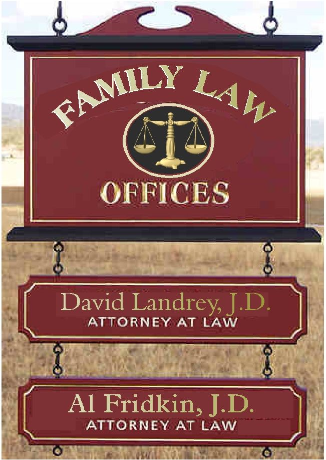 A10675 - Law Office Sign with Hanging Rider Signs with Attorney Names