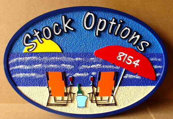 "L21012– Carved  Beach House Address Sign, ""Stock Options"" with Two Beach Chairs"