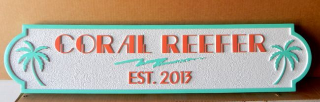 """L21896 - Quarterboard Beach Residence Sign """"Coral Reefer"""" with Carved Palm Trees"""