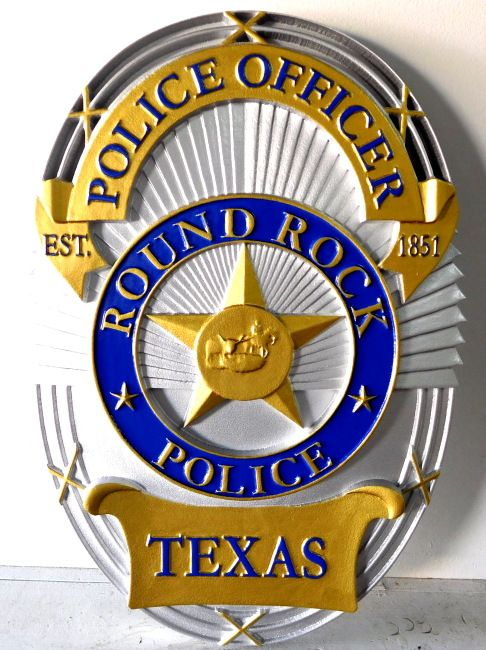 PP-1140 - Carved Wall Plaque of the Police  Badge of  Round Rock, Texas,  Artist Painted